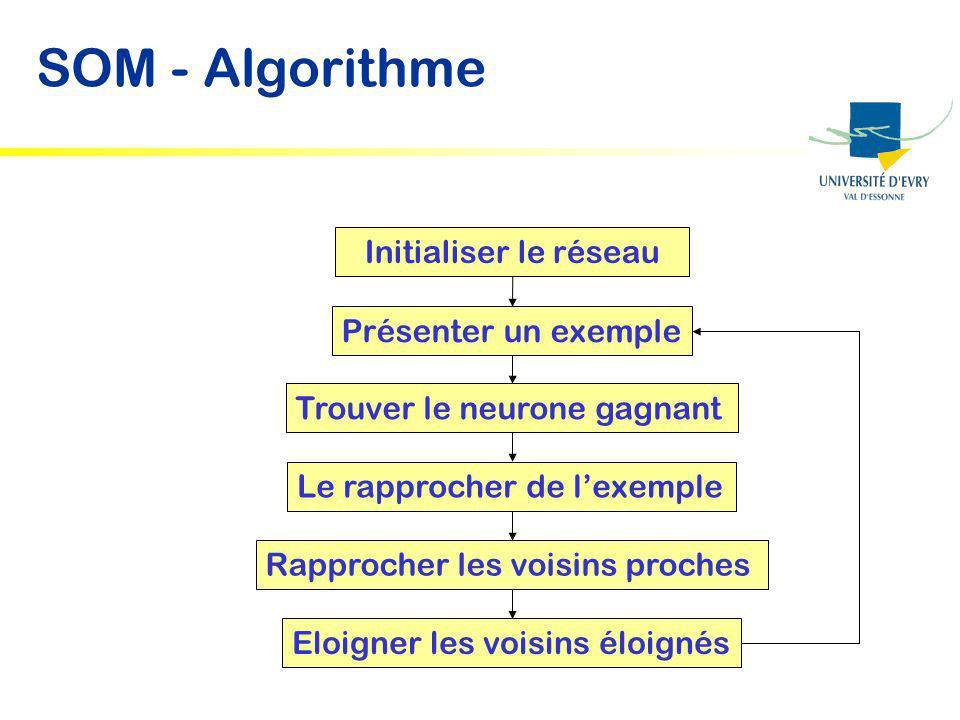 SOM - Algorithme Initialiser le réseau Présenter un exemple