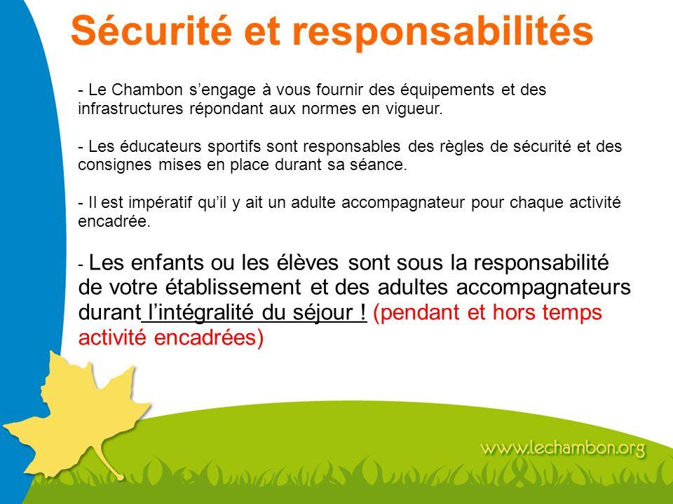 Sécurité et responsabilités