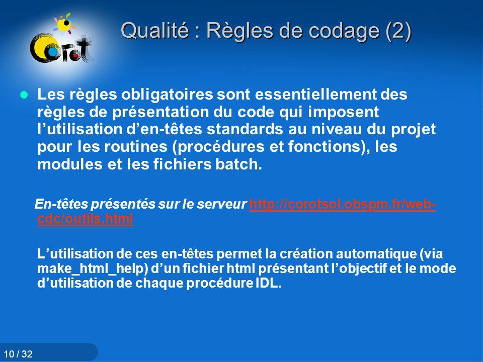 Qualité : Règles de codage (2)
