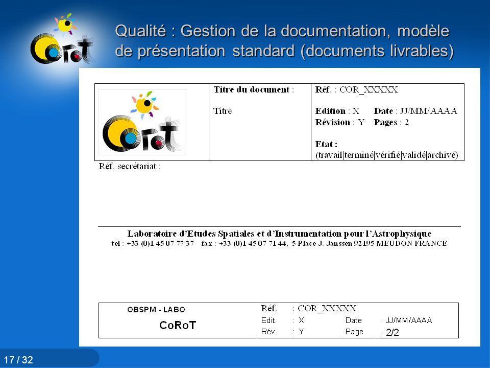 Qualité : Gestion de la documentation, modèle de présentation standard (documents livrables)