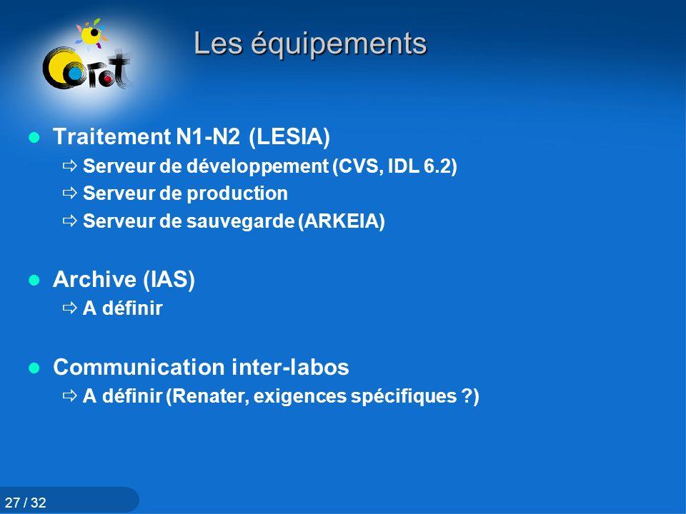 Les équipements Traitement N1-N2 (LESIA) Archive (IAS)
