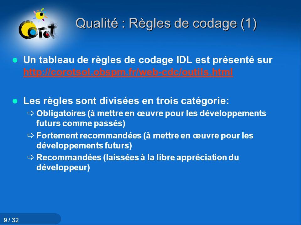 Qualité : Règles de codage (1)