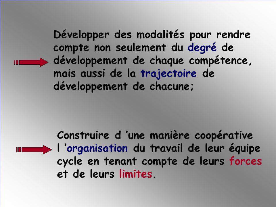 Développer des modalités pour rendre compte non seulement du degré de développement de chaque compétence, mais aussi de la trajectoire de développement de chacune;