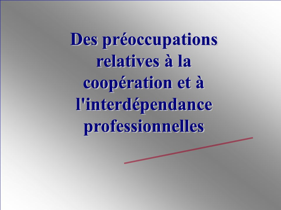 Des préoccupations relatives à la coopération et à l interdépendance professionnelles