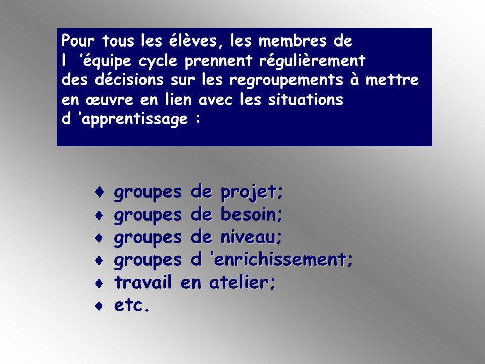 groupes de projet; groupes de besoin; groupes de niveau;