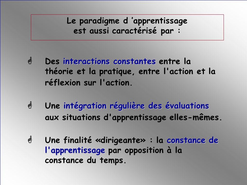 Le paradigme d 'apprentissage est aussi caractérisé par :