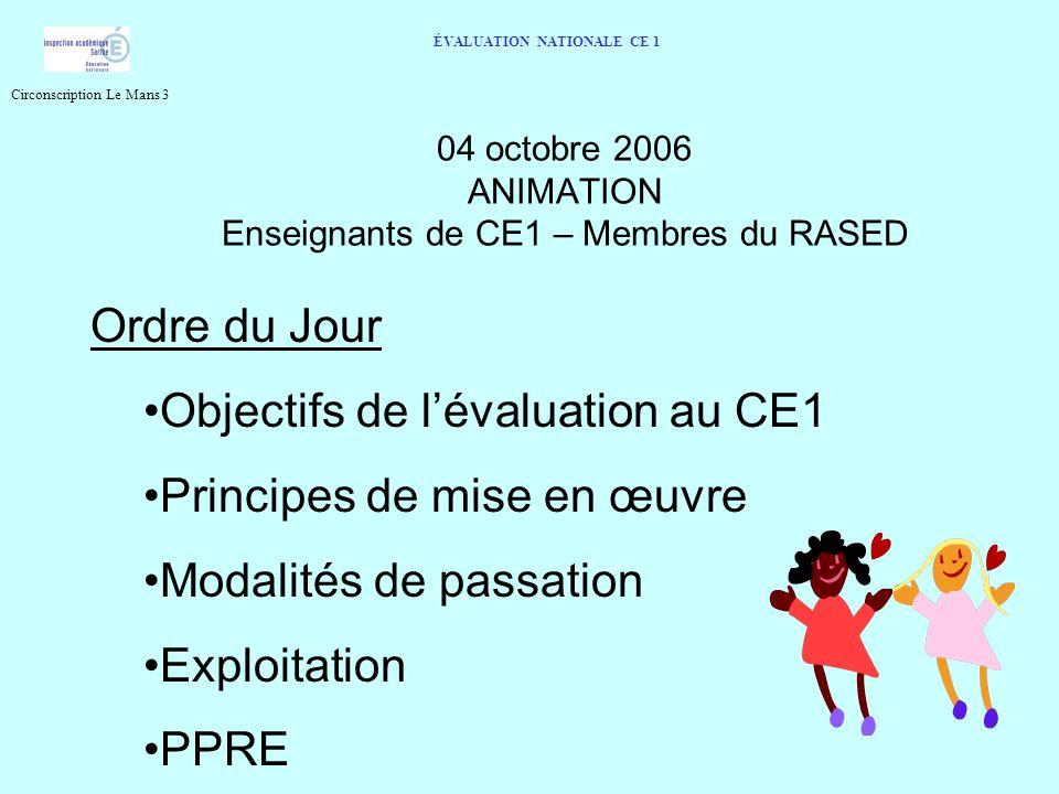 04 octobre 2006 ANIMATION Enseignants de CE1 – Membres du RASED