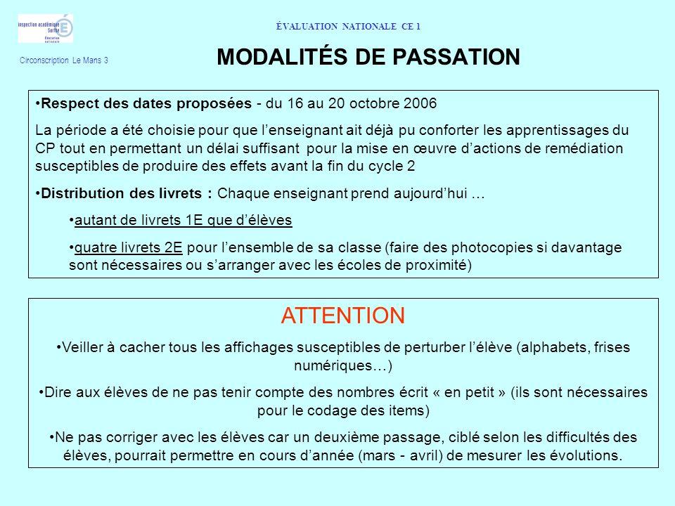 MODALITÉS DE PASSATION