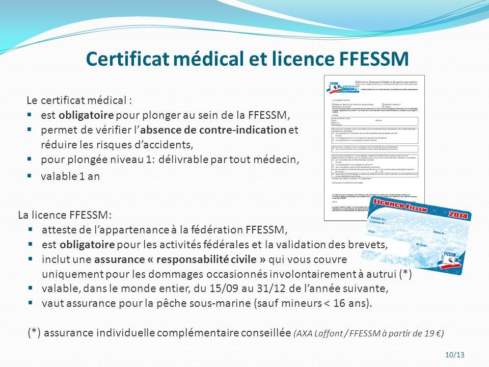 Certificat médical et licence FFESSM