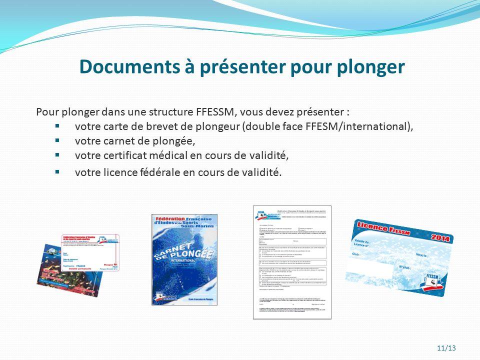 Documents à présenter pour plonger