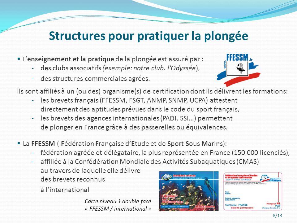 Structures pour pratiquer la plongée