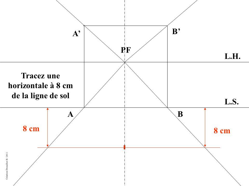Tracez une horizontale à 8 cm de la ligne de sol
