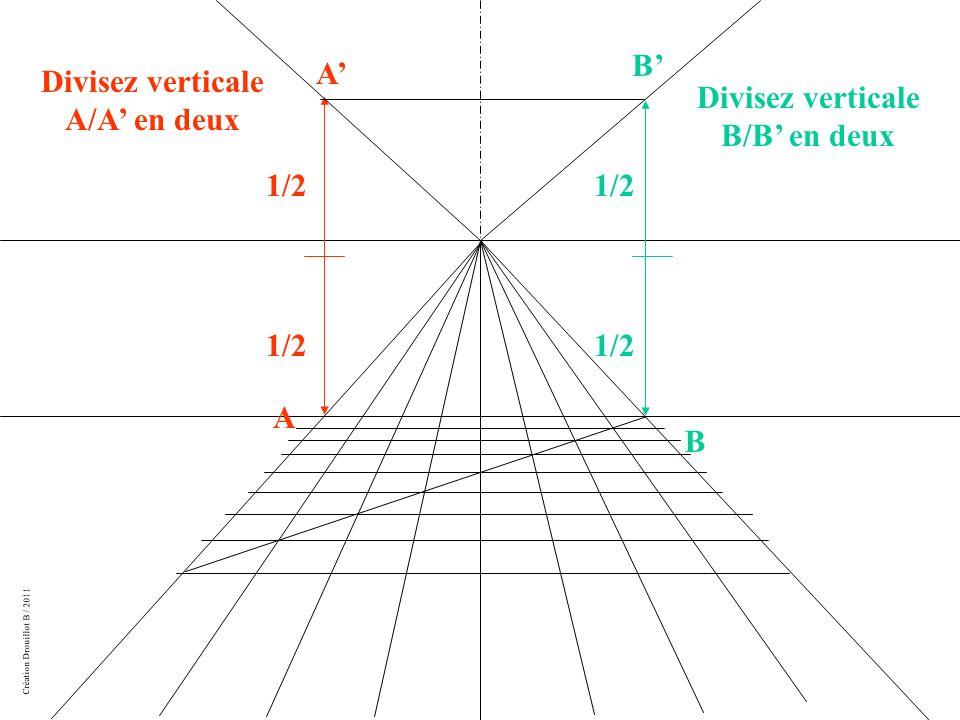 Divisez verticale A/A' en deux Divisez verticale B/B' en deux