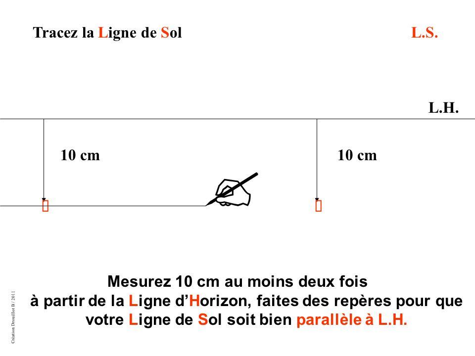 Tracez la Ligne de Sol L.S. L.H. 10 cm 10 cm û û