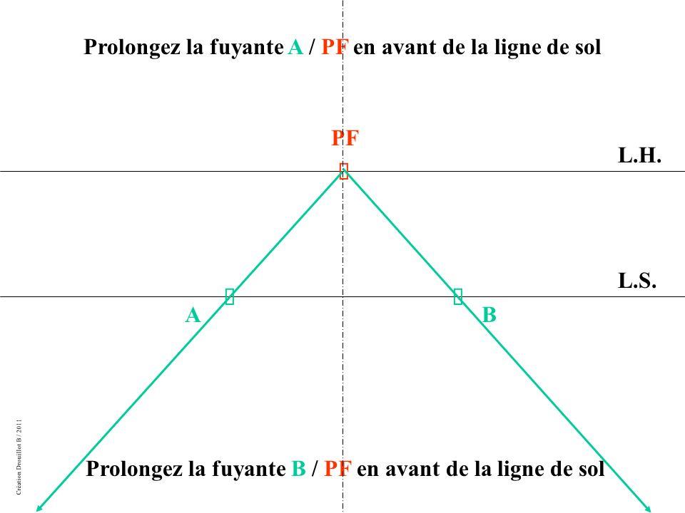 Prolongez la fuyante A / PF en avant de la ligne de sol
