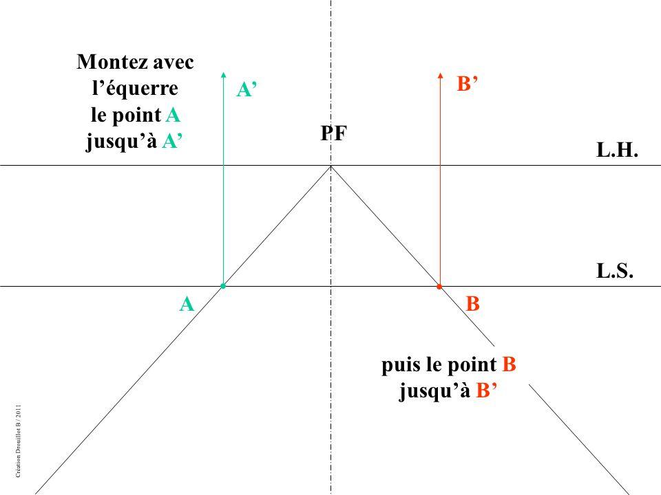 Montez avec l'équerre le point A jusqu'à A' puis le point B jusqu'à B'