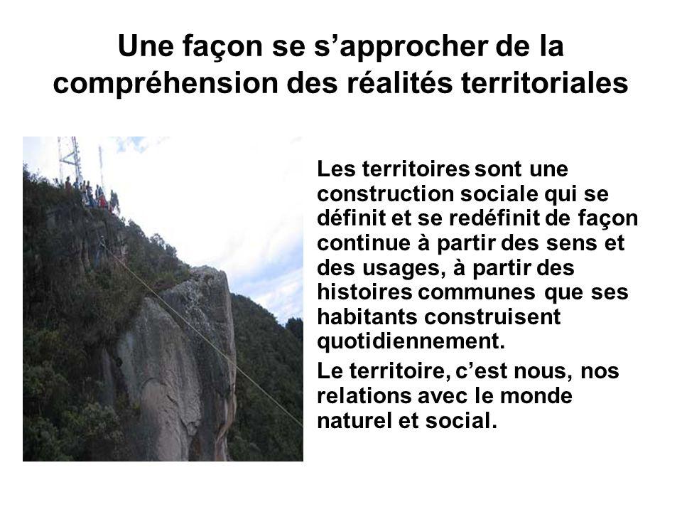 Une façon se s'approcher de la compréhension des réalités territoriales
