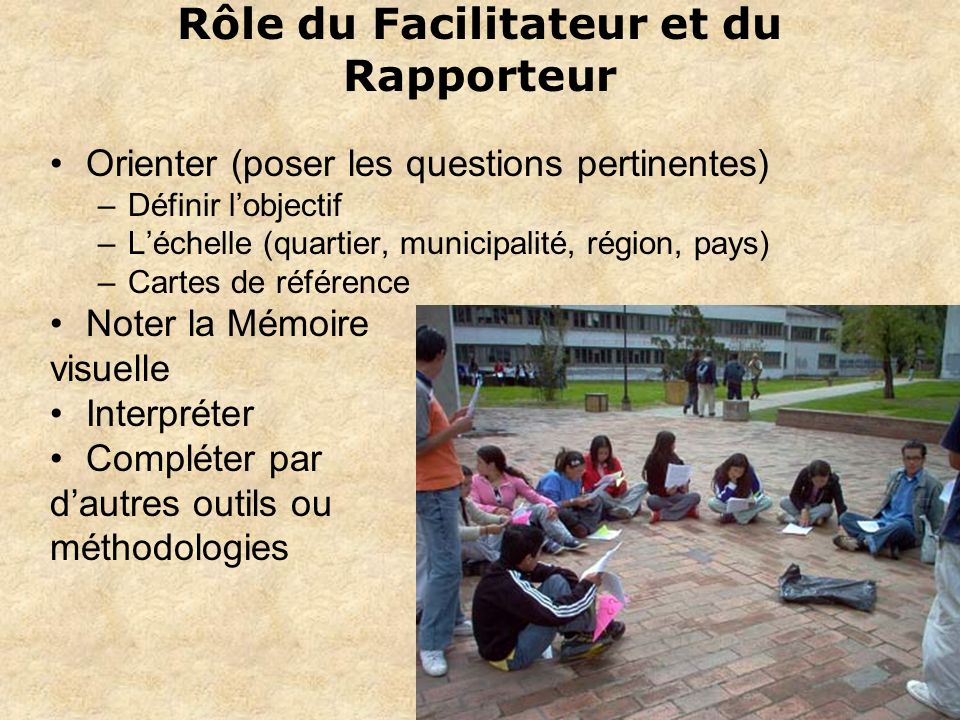 Rôle du Facilitateur et du Rapporteur