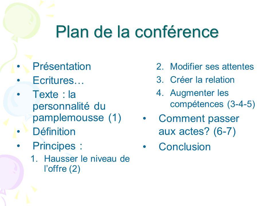 Plan de la conférence Présentation Ecritures…