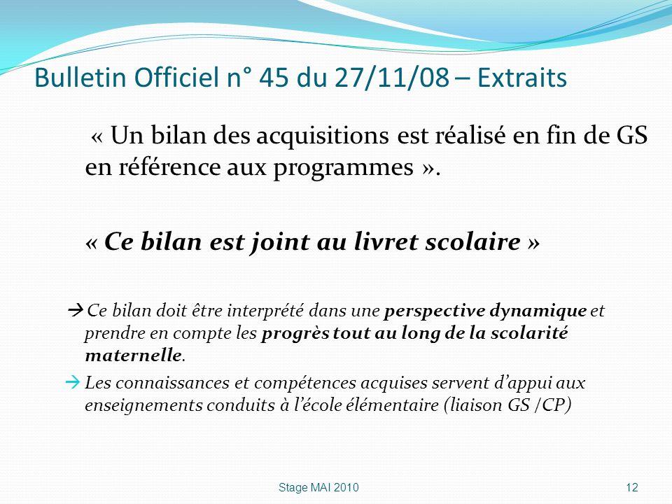 Bulletin Officiel n° 45 du 27/11/08 – Extraits