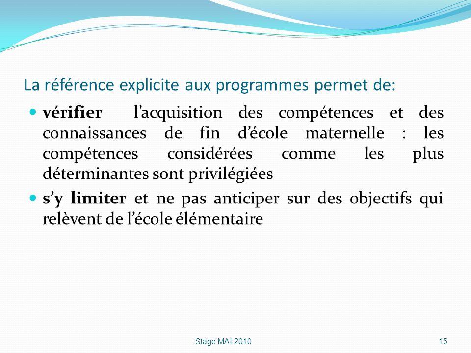 La référence explicite aux programmes permet de: