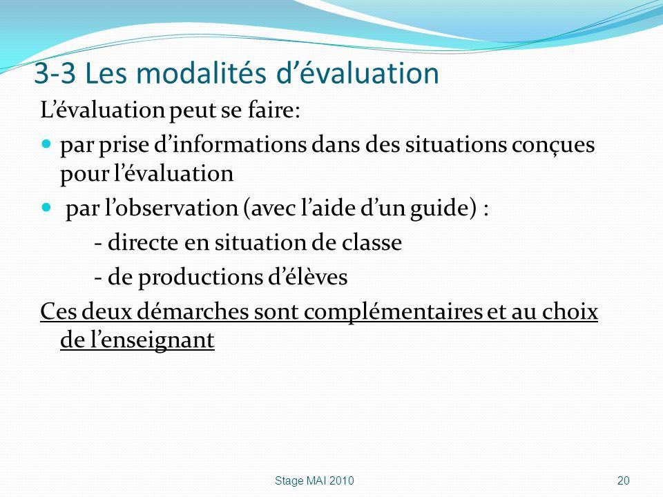 3-3 Les modalités d'évaluation