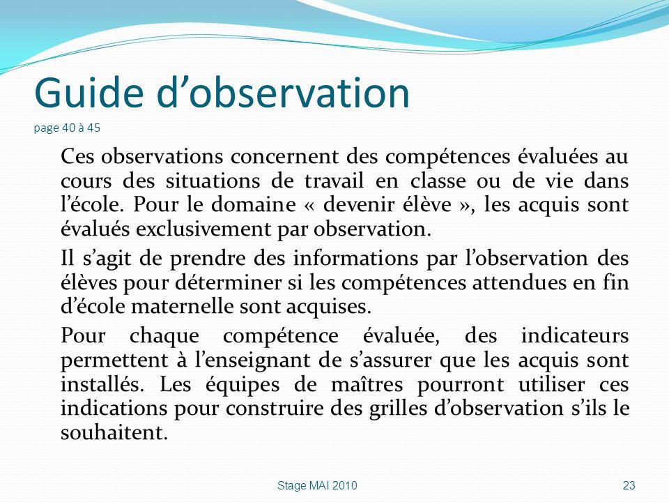 Guide d'observation page 40 à 45