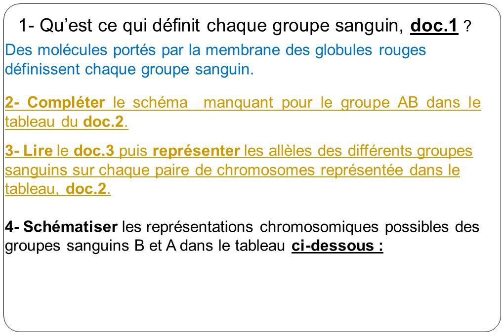 1- Qu'est ce qui définit chaque groupe sanguin, doc.1