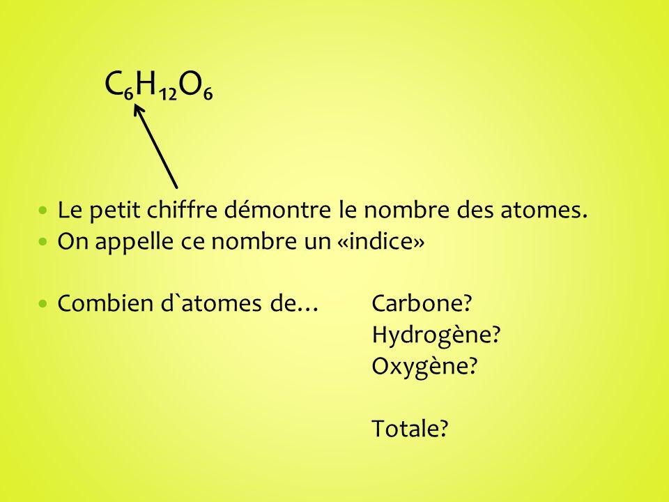 C₆H₁₂O₆ Le petit chiffre démontre le nombre des atomes.