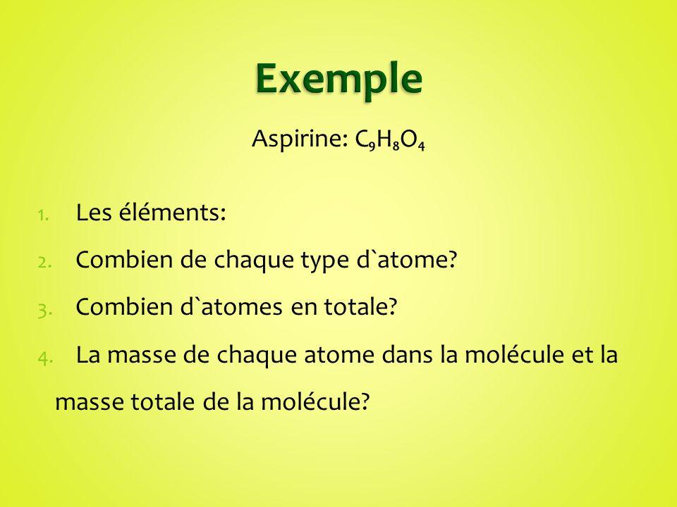 Exemple Aspirine: C₉H₈O₄ Les éléments: Combien de chaque type d`atome