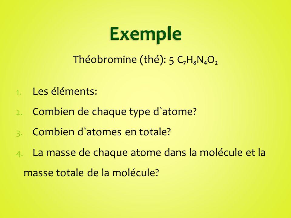 Théobromine (thé): 5 C₇H₈N₄O₂