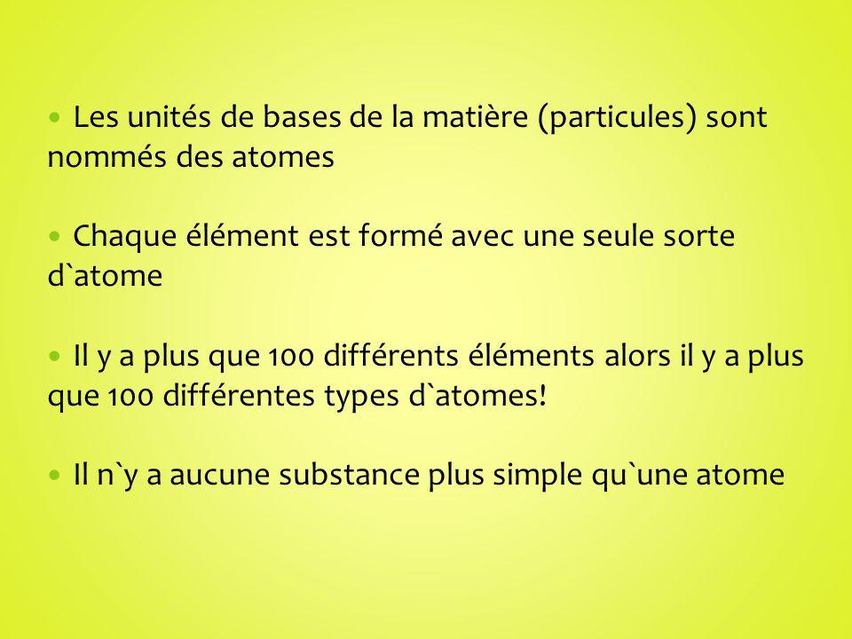 Les unités de bases de la matière (particules) sont nommés des atomes