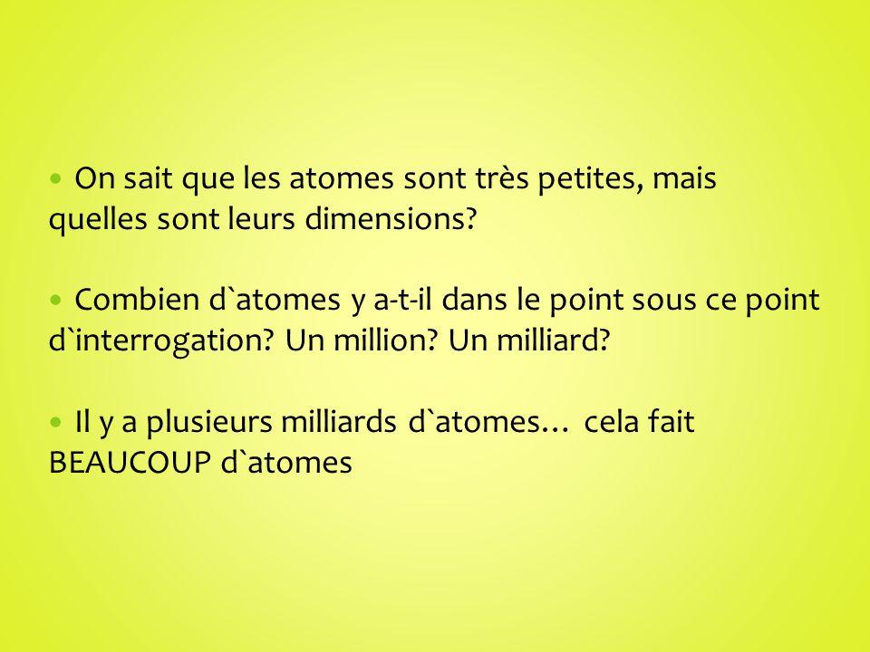 On sait que les atomes sont très petites, mais quelles sont leurs dimensions