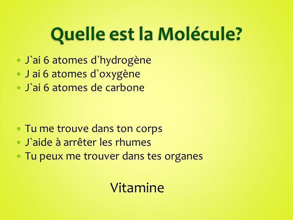 Quelle est la Molécule Vitamine J`ai 6 atomes d`hydrogène
