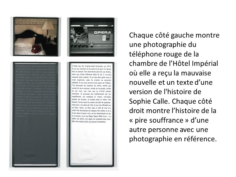 Chaque côté gauche montre une photographie du téléphone rouge de la chambre de l'Hôtel Impérial où elle a reçu la mauvaise nouvelle et un texte d'une version de l histoire de Sophie Calle.