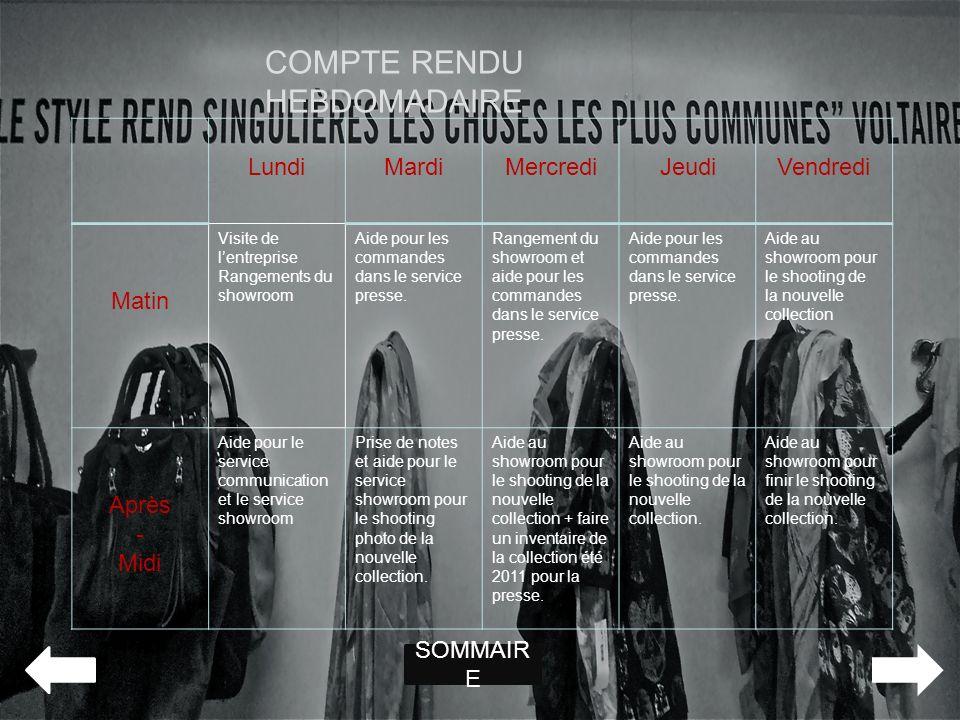 COMPTE RENDU HEBDOMADAIRE