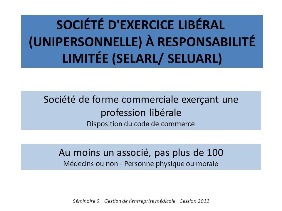 Société d exercice libéral (unipersonnelle) à responsabilité limitée (SELARL/ SELUARL)