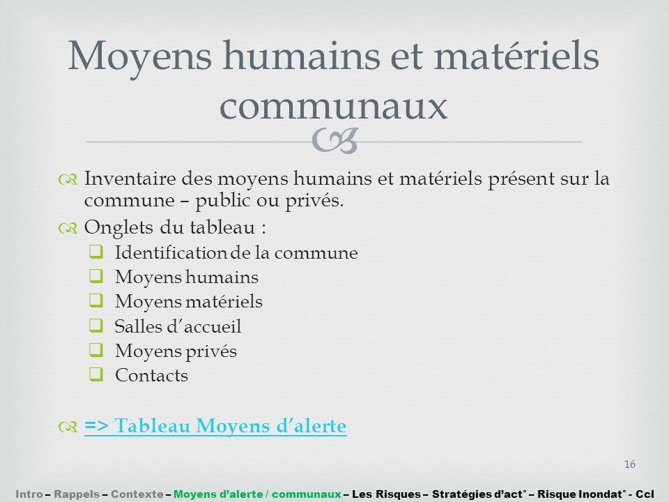 Moyens humains et matériels communaux
