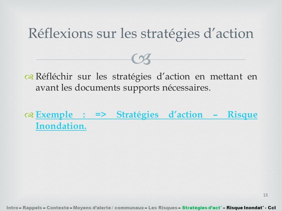 Réflexions sur les stratégies d'action