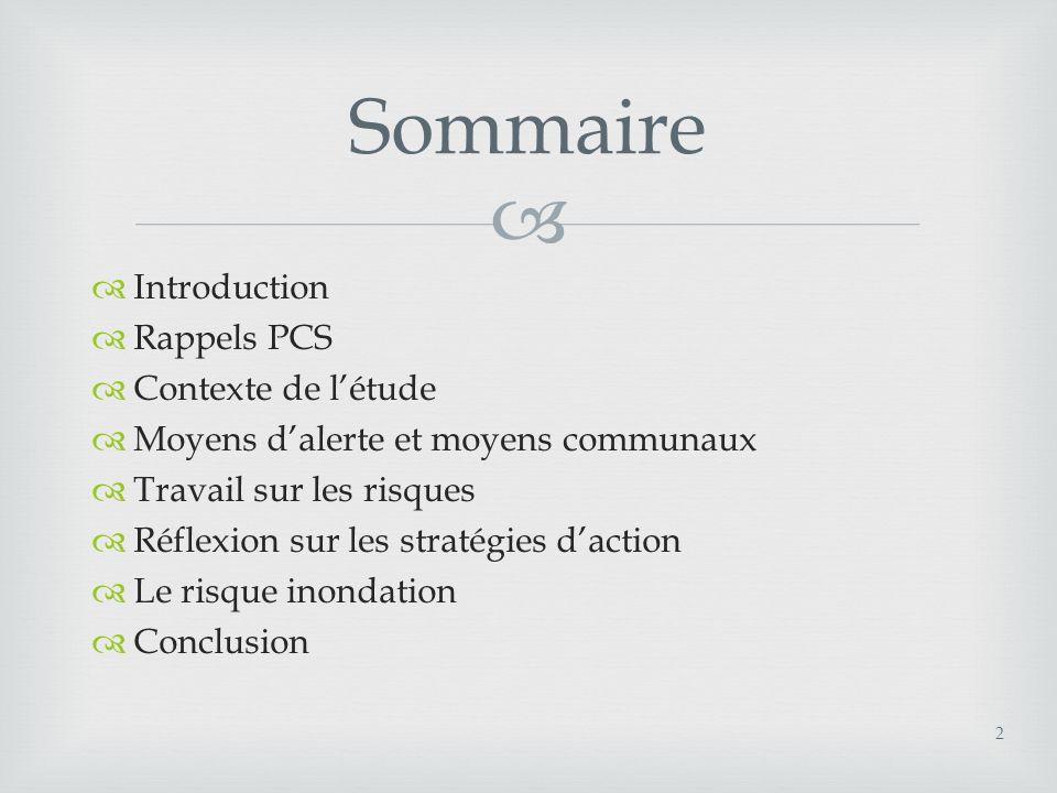 Sommaire Introduction Rappels PCS Contexte de l'étude