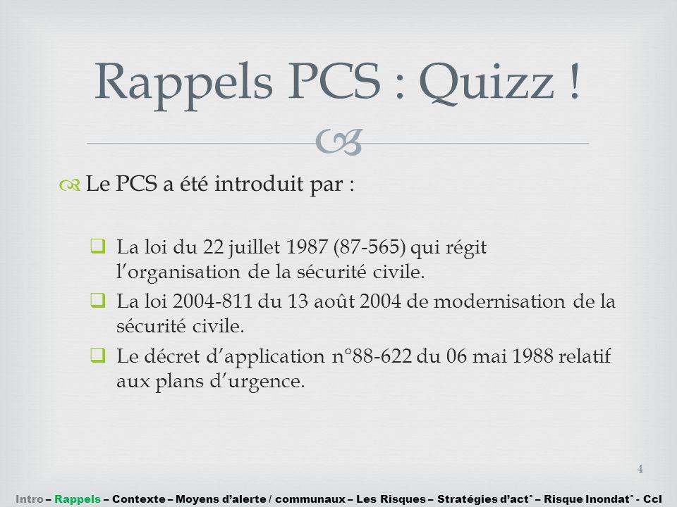 Rappels PCS : Quizz ! Le PCS a été introduit par :