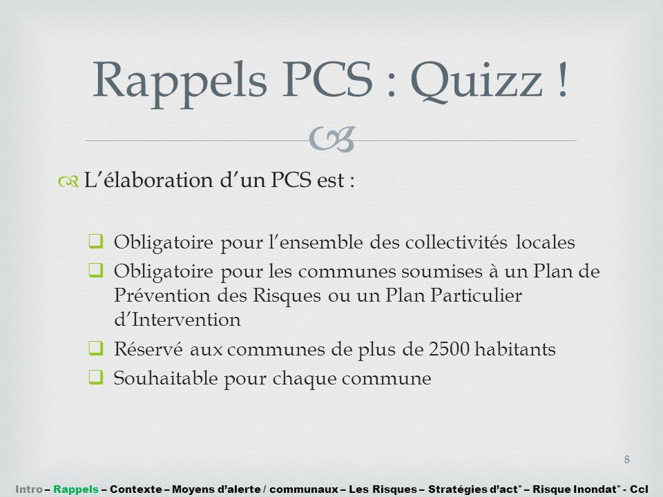Rappels PCS : Quizz ! L'élaboration d'un PCS est :