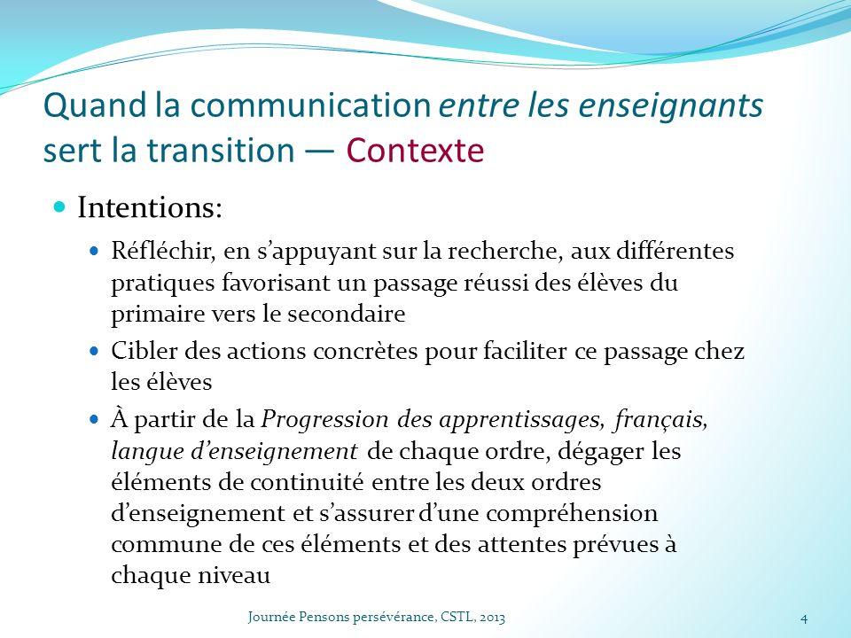 Quand la communication entre les enseignants sert la transition — Contexte