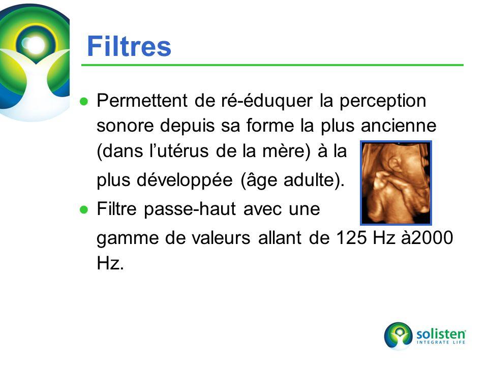 Filtres Permettent de ré-éduquer la perception sonore depuis sa forme la plus ancienne (dans l'utérus de la mère) à la.