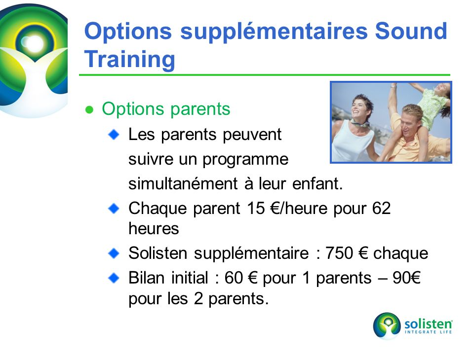 Options supplémentaires Sound Training
