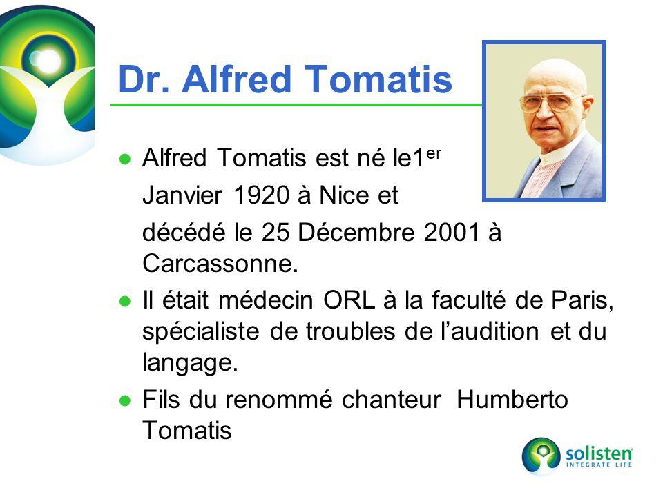 Dr. Alfred Tomatis Alfred Tomatis est né le1er Janvier 1920 à Nice et