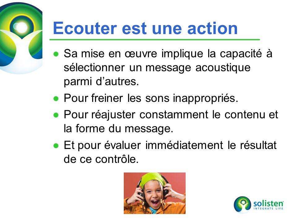 Ecouter est une action Sa mise en œuvre implique la capacité à sélectionner un message acoustique parmi d'autres.