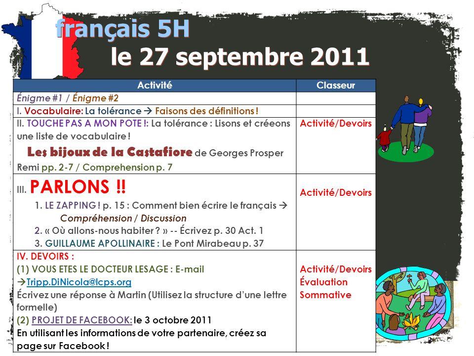 français 5H le 27 septembre 2011