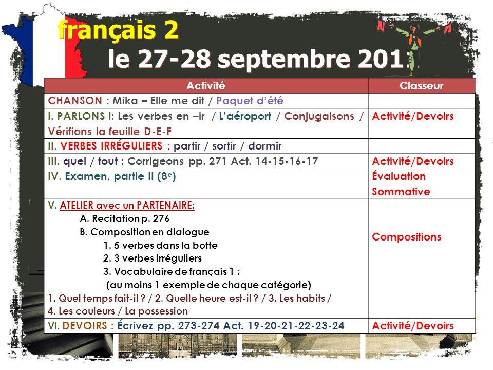 français 2 le 27-28 septembre 2011