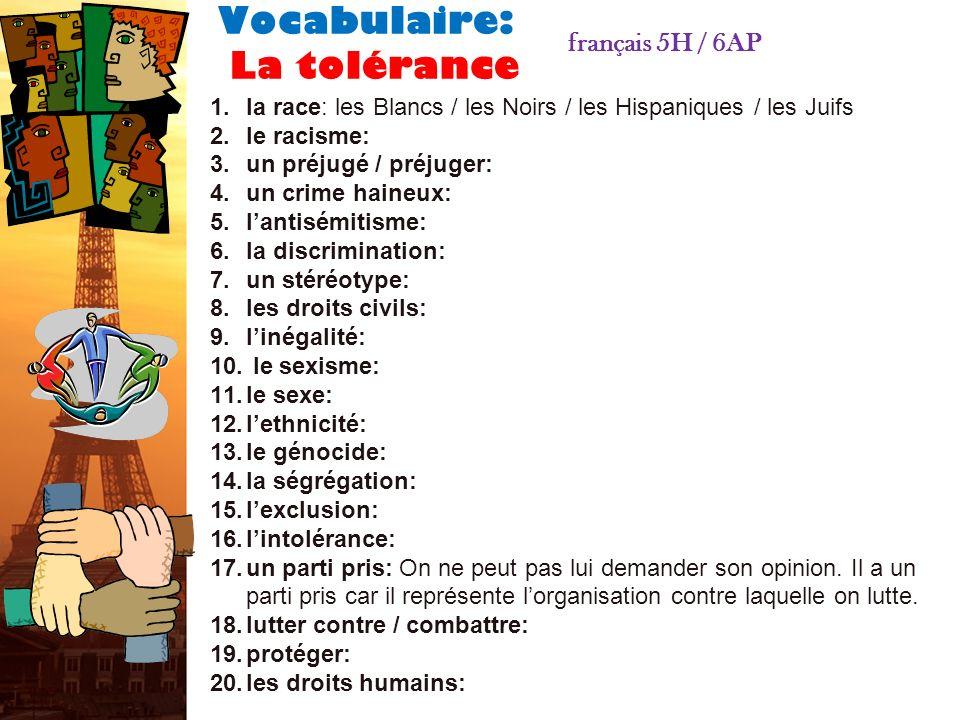 Vocabulaire: La tolérance